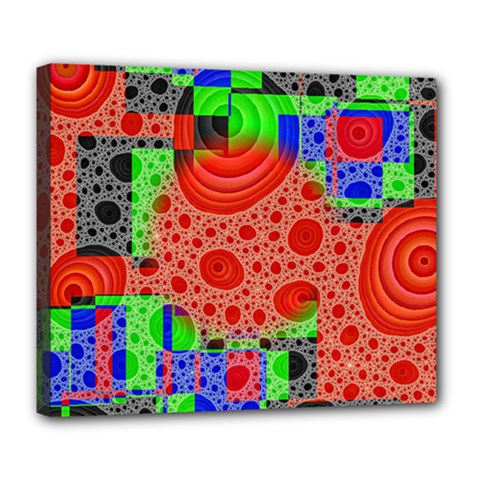 Background With Fractal Digital Cubist Drawing Deluxe Canvas 24  x 20