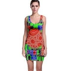 Background With Fractal Digital Cubist Drawing Sleeveless Bodycon Dress
