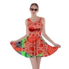 Background With Fractal Digital Cubist Drawing Skater Dress