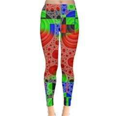 Background With Fractal Digital Cubist Drawing Leggings
