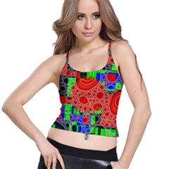 Background With Fractal Digital Cubist Drawing Spaghetti Strap Bra Top