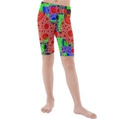 Background With Fractal Digital Cubist Drawing Kids  Mid Length Swim Shorts