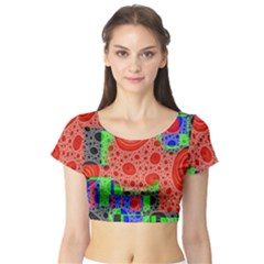 Background With Fractal Digital Cubist Drawing Short Sleeve Crop Top (Tight Fit)