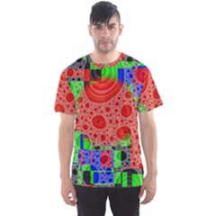 Background With Fractal Digital Cubist Drawing Men s Sport Mesh Tee