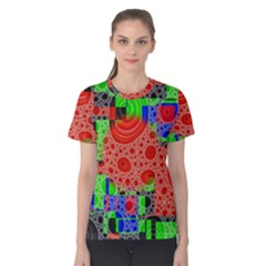 Background With Fractal Digital Cubist Drawing Women s Cotton Tee