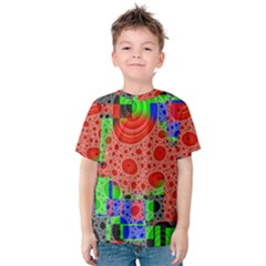 Background With Fractal Digital Cubist Drawing Kids  Cotton Tee