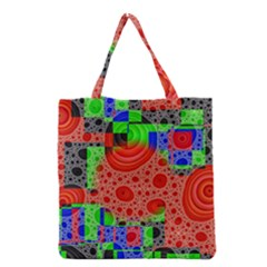 Background With Fractal Digital Cubist Drawing Grocery Tote Bag