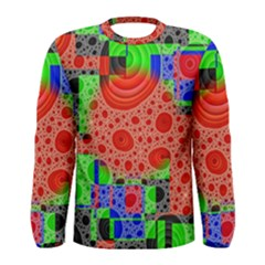 Background With Fractal Digital Cubist Drawing Men s Long Sleeve Tee
