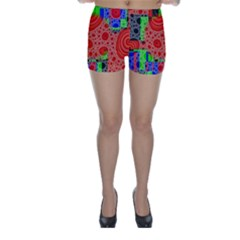 Background With Fractal Digital Cubist Drawing Skinny Shorts