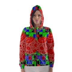 Background With Fractal Digital Cubist Drawing Hooded Wind Breaker (women)