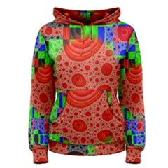 Background With Fractal Digital Cubist Drawing Women s Pullover Hoodie