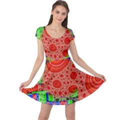 Background With Fractal Digital Cubist Drawing Cap Sleeve Dresses
