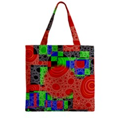 Background With Fractal Digital Cubist Drawing Zipper Grocery Tote Bag