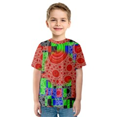 Background With Fractal Digital Cubist Drawing Kids  Sport Mesh Tee