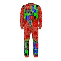 Background With Fractal Digital Cubist Drawing OnePiece Jumpsuit (Kids)
