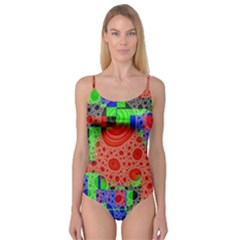 Background With Fractal Digital Cubist Drawing Camisole Leotard