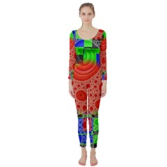 Background With Fractal Digital Cubist Drawing Long Sleeve Catsuit