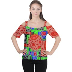 Background With Fractal Digital Cubist Drawing Women s Cutout Shoulder Tee
