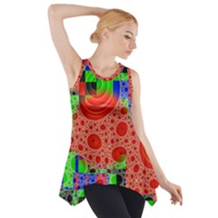 Background With Fractal Digital Cubist Drawing Side Drop Tank Tunic