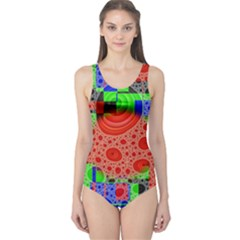 Background With Fractal Digital Cubist Drawing One Piece Swimsuit