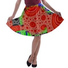 Background With Fractal Digital Cubist Drawing A-line Skater Skirt