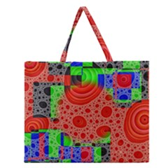 Background With Fractal Digital Cubist Drawing Zipper Large Tote Bag