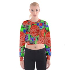 Background With Fractal Digital Cubist Drawing Women s Cropped Sweatshirt