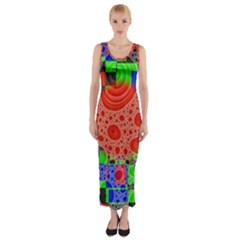 Background With Fractal Digital Cubist Drawing Fitted Maxi Dress