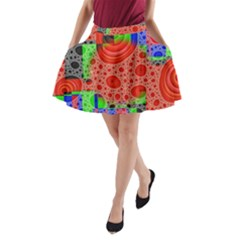 Background With Fractal Digital Cubist Drawing A-Line Pocket Skirt