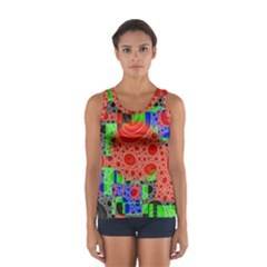 Background With Fractal Digital Cubist Drawing Women s Sport Tank Top