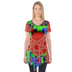 Background With Fractal Digital Cubist Drawing Short Sleeve Tunic