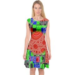 Background With Fractal Digital Cubist Drawing Capsleeve Midi Dress