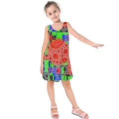 Background With Fractal Digital Cubist Drawing Kids  Sleeveless Dress