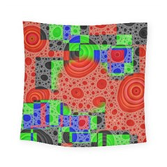 Background With Fractal Digital Cubist Drawing Square Tapestry (small)