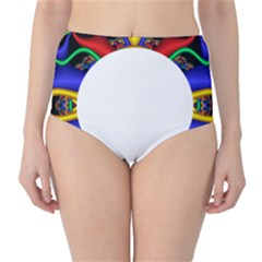 Symmetric Fractal Snake Frame High-Waist Bikini Bottoms