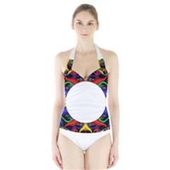 Symmetric Fractal Snake Frame Halter Swimsuit