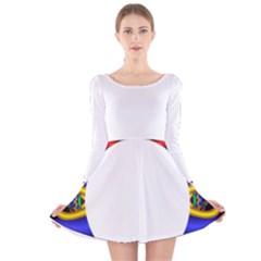 Symmetric Fractal Snake Frame Long Sleeve Velvet Skater Dress
