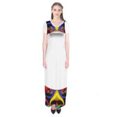 Symmetric Fractal Snake Frame Short Sleeve Maxi Dress