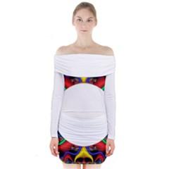 Symmetric Fractal Snake Frame Long Sleeve Off Shoulder Dress