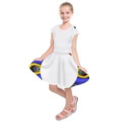 Symmetric Fractal Snake Frame Kids  Short Sleeve Dress