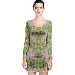 Digital Computer Graphic Seamless Wallpaper Long Sleeve Bodycon Dress