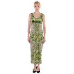Digital Computer Graphic Seamless Wallpaper Fitted Maxi Dress
