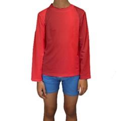 Red Gradient Fractal Backgroun Kids  Long Sleeve Swimwear