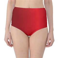 Red Gradient Fractal Backgroun High-Waist Bikini Bottoms