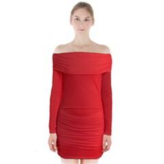 Red Gradient Fractal Backgroun Long Sleeve Off Shoulder Dress