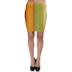 Colorful Citrus Colors Striped Background Wallpaper Bodycon Skirt