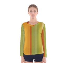 Colorful Citrus Colors Striped Background Wallpaper Women s Long Sleeve Tee