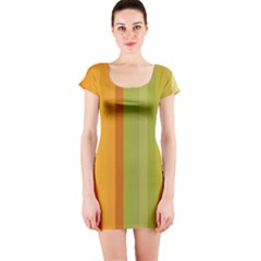 Colorful Citrus Colors Striped Background Wallpaper Short Sleeve Bodycon Dress