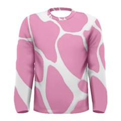 Baby Pink Girl Pattern Colorful Background Men s Long Sleeve Tee