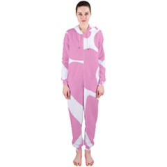 Baby Pink Girl Pattern Colorful Background Hooded Jumpsuit (ladies)